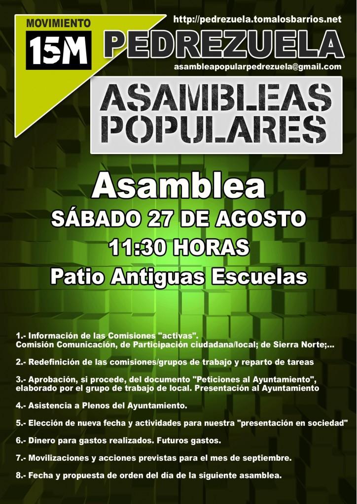 Cartel para la Asamblea Popular en Pedrezuela el 27/08/2011